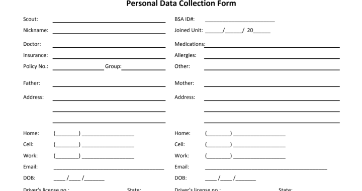 Adult Personal Data Collection Form 2013 12 Fillable